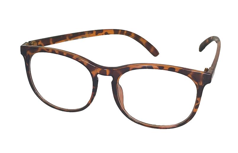 am besten billig online zum Verkauf große Vielfalt Stile Rund brille med klart glas uden styrke i skildpaddebrun